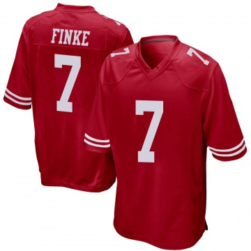 Youth Chris Finke San Francisco 49ers Game Red Team Color Jersey